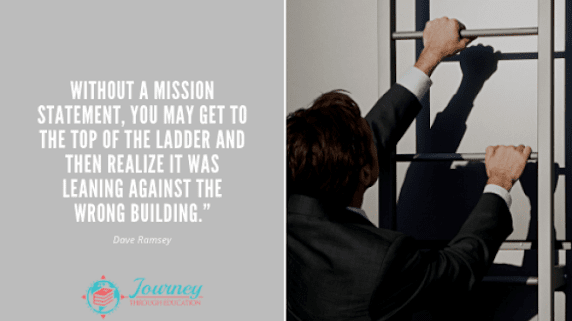 "Portfolio image - man climbing a ladder next to a quote - ""Without a mission statement, you may get to the top of the ladder and then realize it was leaning against the wrong building."""