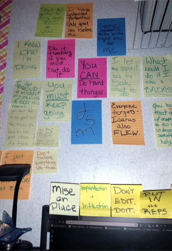 "A picture of the wall above my computer with sticky notes saying things like ""You can do hard things!"" and ""What would I do if I was a Badass?"" and ""Everyone forgets - Icarus also flew"" and ""Don't believe everything you think."" Nothing about boredom yet - I may have to go quote-hunting."