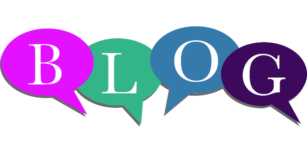 Colorful speech bubbles spelling out the word BLOG