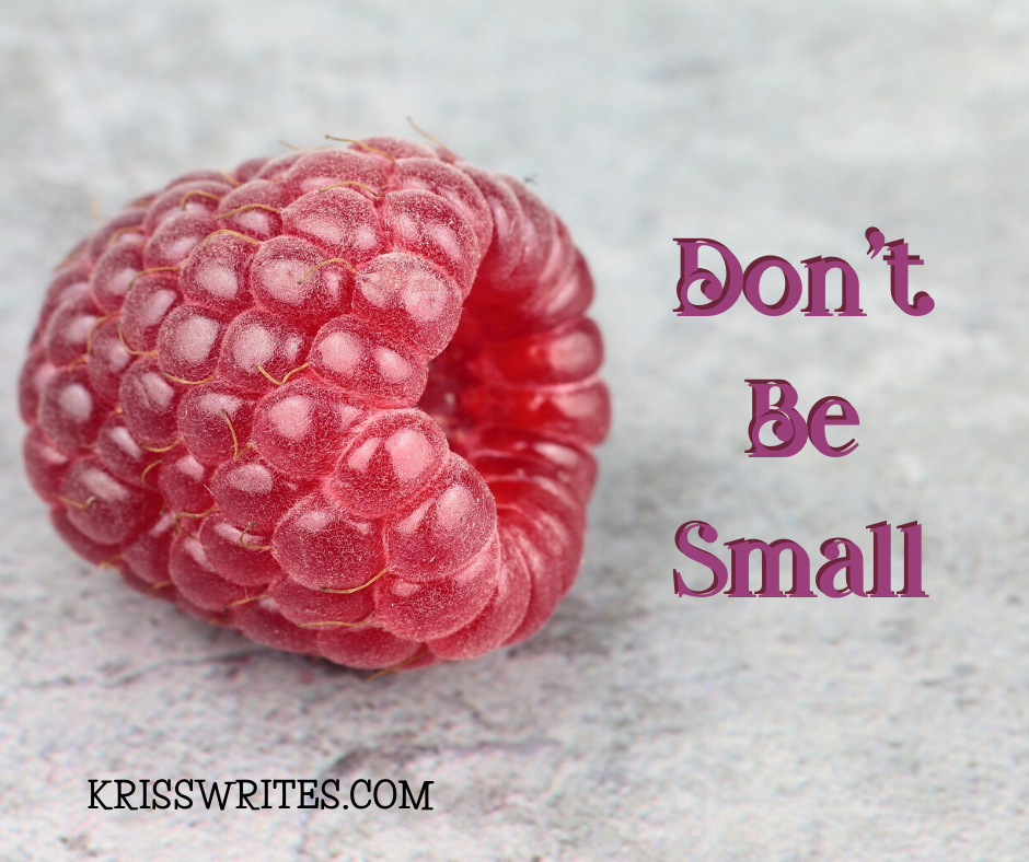 """a raspberry next to the words, """"Don't Be Small"""""""