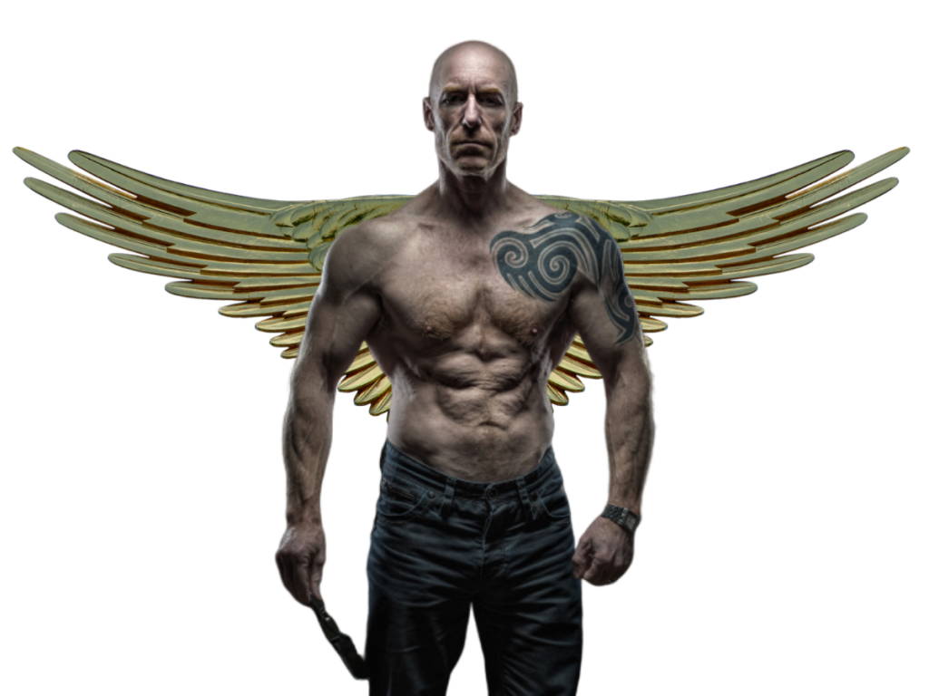 Icarus reimagined: shirtless man, heavily muscled, with wings outstretched from his back
